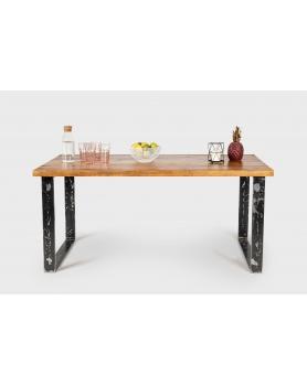 Stół drewniany z prostymi, metalowymi nogami w stylu loftowym / industrialnym - 30 Stoły