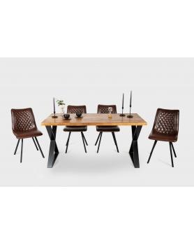 Stół drewniany z metalowymi nogami X w stylu loftowym / industrialnym - 32 Stoły