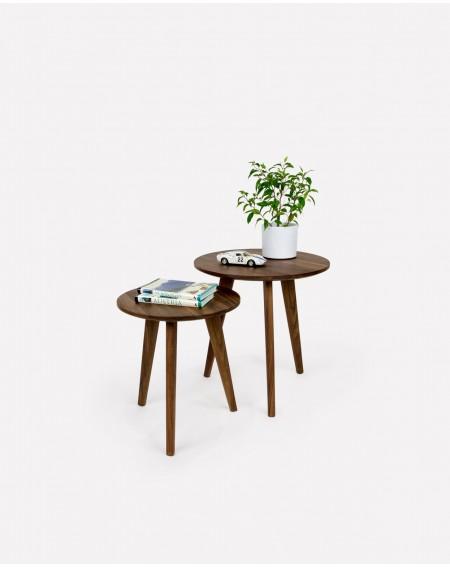 Komplet Stolików okrągłych W Stylu Skandynawskim Orzech - 282 Stoliki kawowe