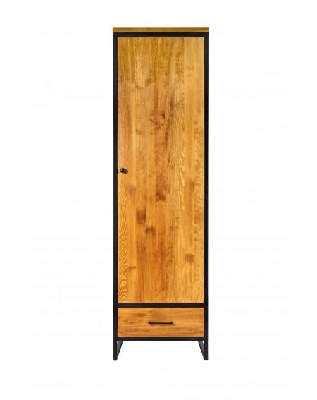 Szafa 1 drzwiowa z 1 szufladą drewniana z metalową ramą i nogami w stylu industrialnym / loftowym - 40 Szafy loftowe