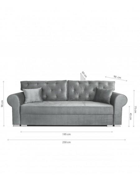 Sofa Glamour Gray Pikowana 3 - Osobowa - 329 Kanapy i sofy