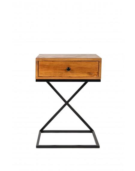 Szafka nocna z małą szufladą drewniana z metalową podstawą w stylu loftowym / industrialnym - 41 Szafki nocne