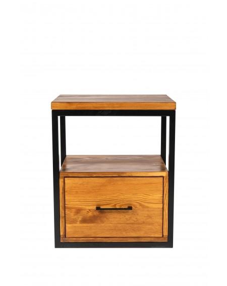 Szafka nocna z szufladą drewniana z metalową podstawą w stylu loftowym / industrialnym - 42 Szafki nocne