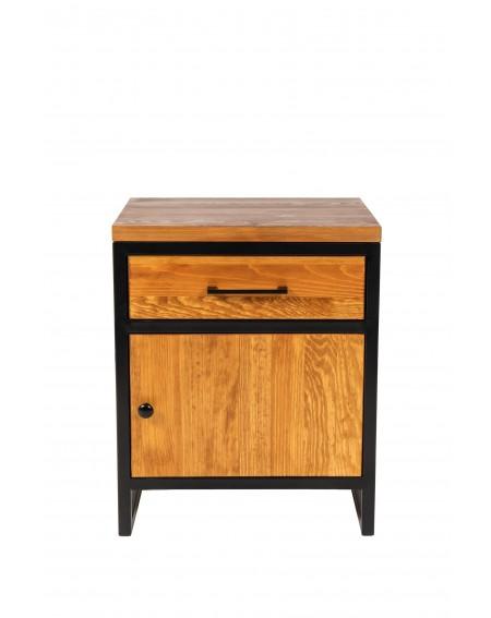 Szafka nocna z szufladą i drzwiczkami drewniana z metalową podstawą w stylu loftowym / industrialnym - 43 Szafki nocne