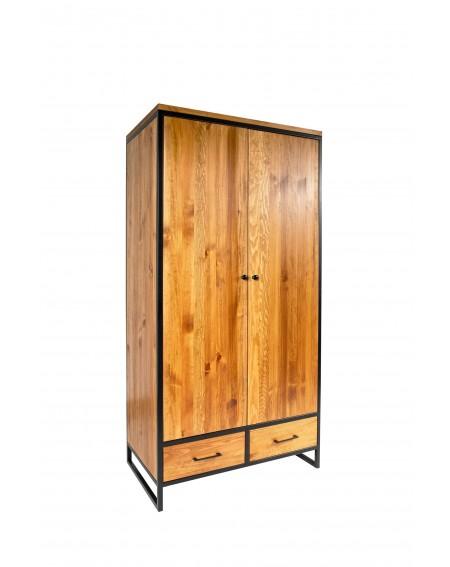 Szafa 2 drzwiowa z 2 szufladami drewniana z metalową ramą i nogami w stylu industrialnym / loftowym - 44 Szafy loftowe