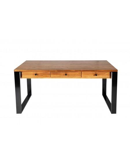 Biurko z 3 szufladami pod blatem drewniane z metalową ramą - 8 Biurka Loftowe