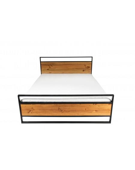 Łóżko 200 x 200 drewniane z metalową ramą i nogami w stylu loftowym / industrialnym - 47 Łóżka