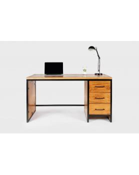Biurko z 3 szufladami drewniane z metalową ramą w stylu loftowym - 10 Biurka Loftowe