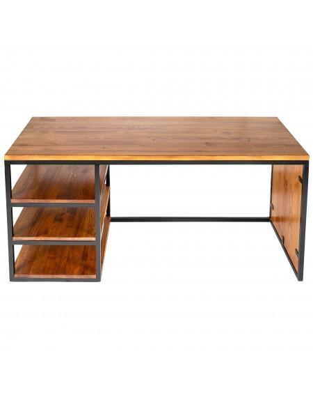 Biurko metalowa rama i drewniany blat - 56 Biurka Loftowe Biurko industrialne z 3 półkami drewniane z metalową ramką. Urządze