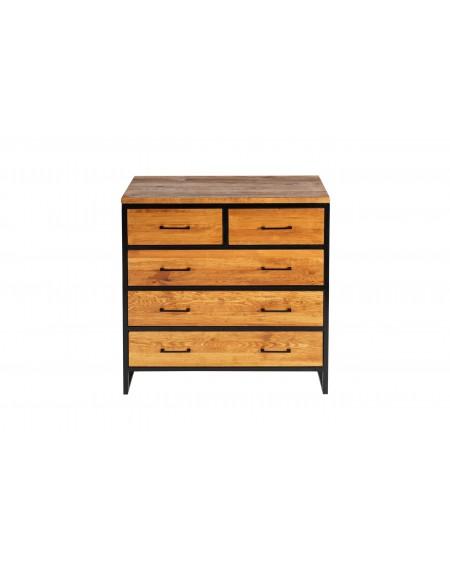 Komoda z 3 szafkami i 2 szufladami drewniana w metalową ramą - 12 Komody loftowe