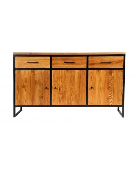 Komoda z 3 szufladami drewniana w metalową ramą - 14 Komody loftowe