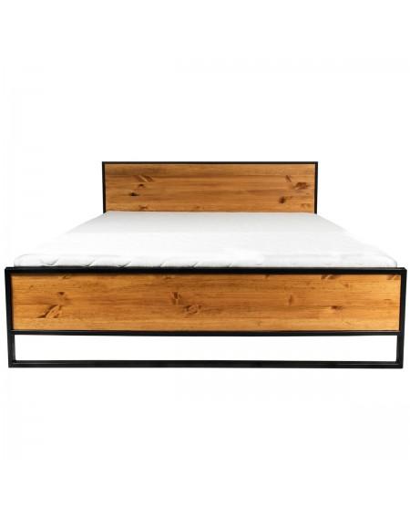 Duże industrialne łóżko drewniane z metalową ramą 180x200 - 71 Łóżka