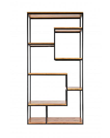 Regał drewniany z metalową ramą w stylu loftowym - 17 Regały loftowe