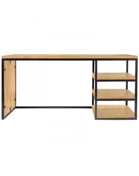Dębowe biurko loftowe - 80 Loftowe meble dębowe Dębowe biurko loftowe z 3 półkami drewniane z metalową ramką. Urządzenie mies