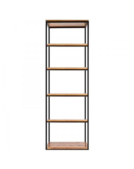 Wąski regał loftowy metal plus drewno - 92 Regały loftowe Regał o szerokości 60 cm, drewniany z metalową ramą to idealny wybó