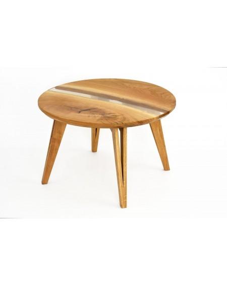 Dębowy stolik kawowy z żywicą - 100 Stoliki kawowe Loftowy stolik kawowy wykonany z litego dębu oraz żywicy. Urządzenie miesz