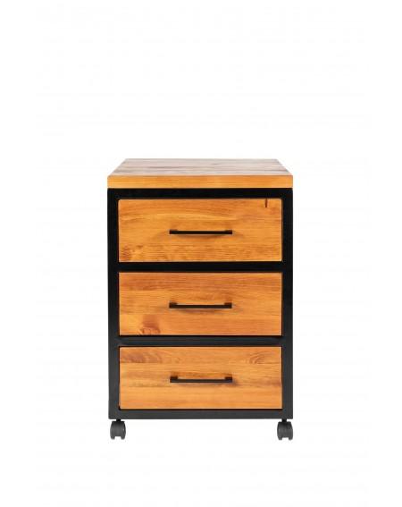 Kontenerek pod biurko z 3 szufladami na kółkach, drewniany z metalową ramą w stylu loftowym / industrialnym - 19 Biurka Lofto