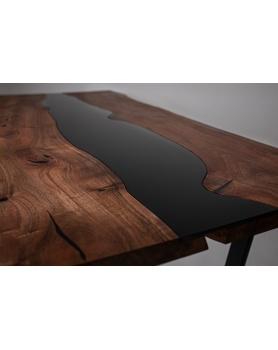 Loftowy stół - orzech włoski z szybą - 103 Stoły