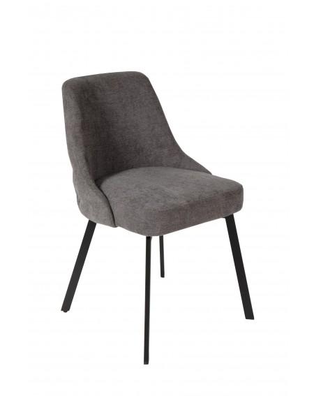 Krzesło obicie welurowe szare pikowane z tylu w stylu loftowym - 20 Krzesła
