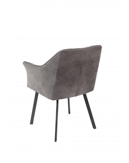 Krzesło, fotel Nevada obicie welurowe szare w stylu loftowym - 22 Krzesła